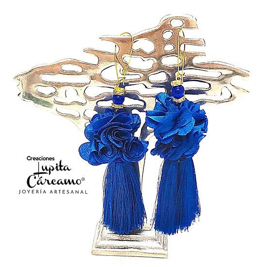 Aretes Glamour Azul rey