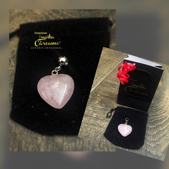 Colgante heart ( cuarzo rosa)