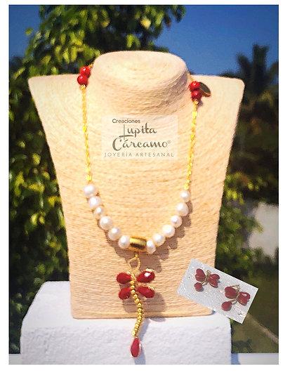 Cojunto Victorius rojo y perla ( 2 piezas)