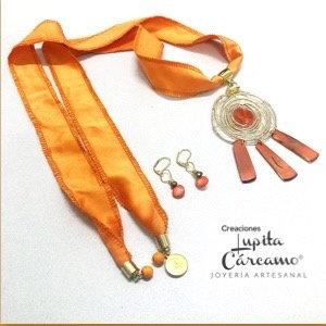 Conjunto atrapasueños seda naranja