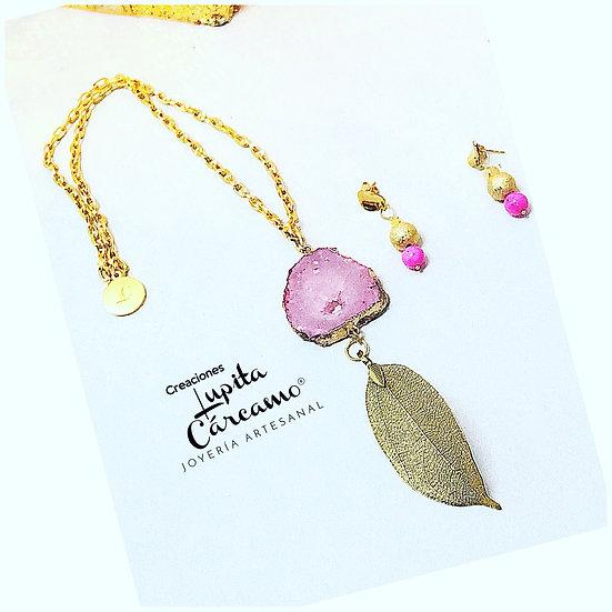 Corbatín pink leave ( 2 piezas)