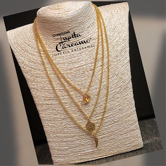 Collar 3 threads corazon