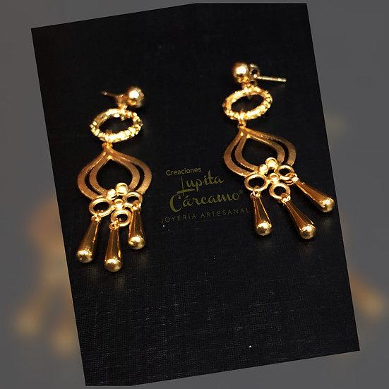 Aretes candelabros dorados