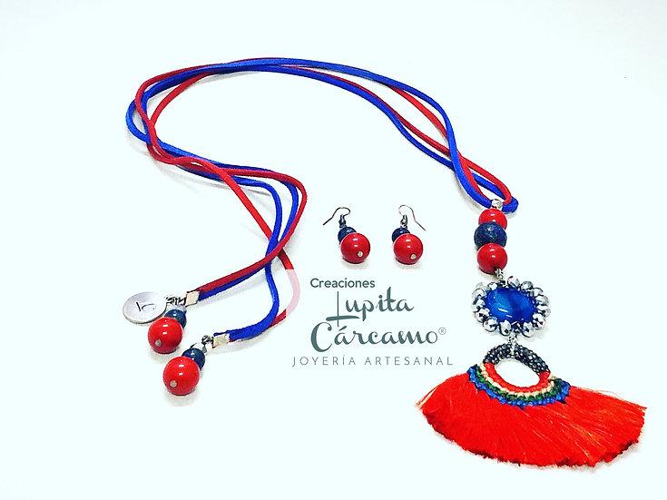 Conjunto Boho_chic azul/rojo