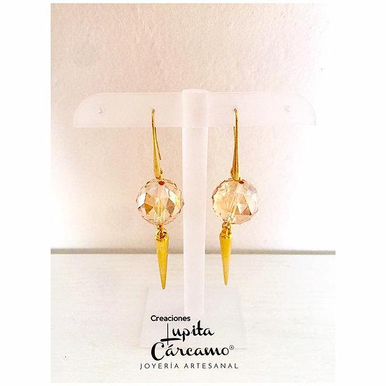 Aretes de cristal y chapa de oro