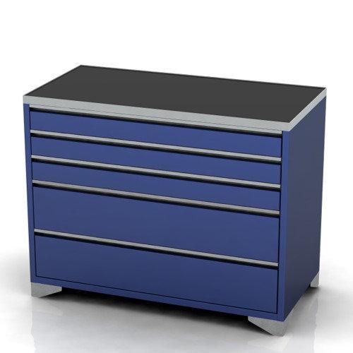 Garage tool cabinet on feet 5 drawer 1200mm wide