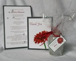 Red Daisy Shower Invitation Set
