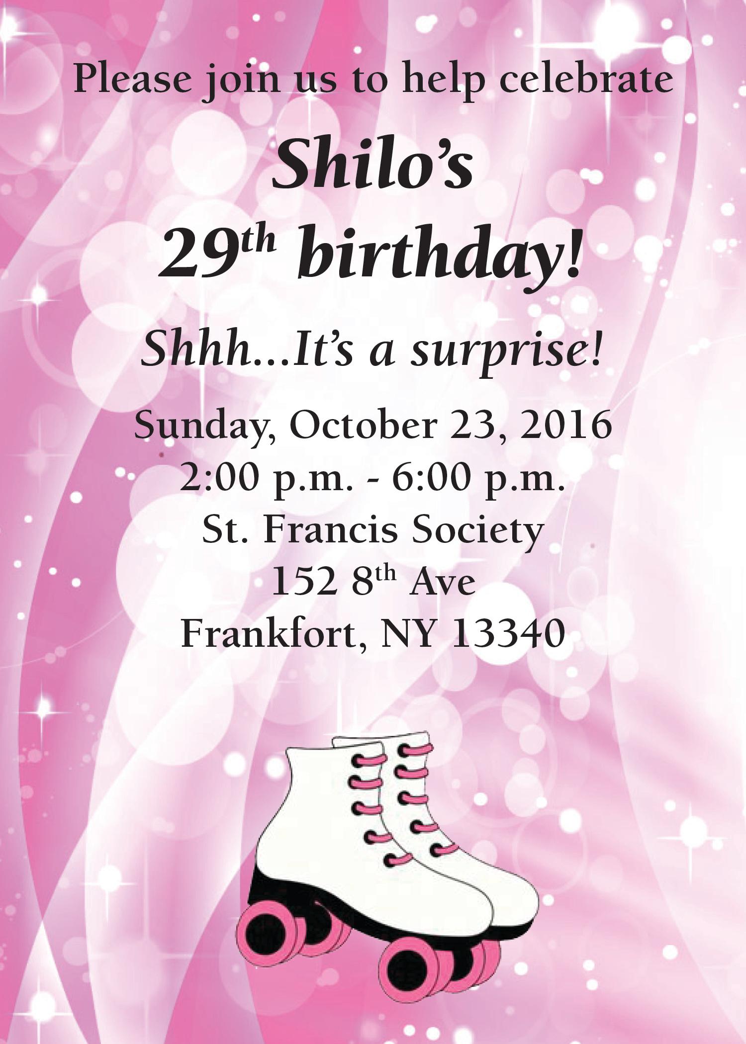 29th Birthday Invitation
