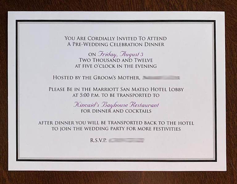 Simple Rehearsal Dinner Invitation