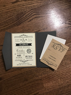 Rustic Gray & Tan Pocket Invitation