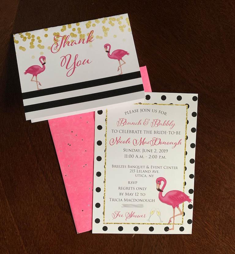 Flamingo Bridal Shower Invitation and Th