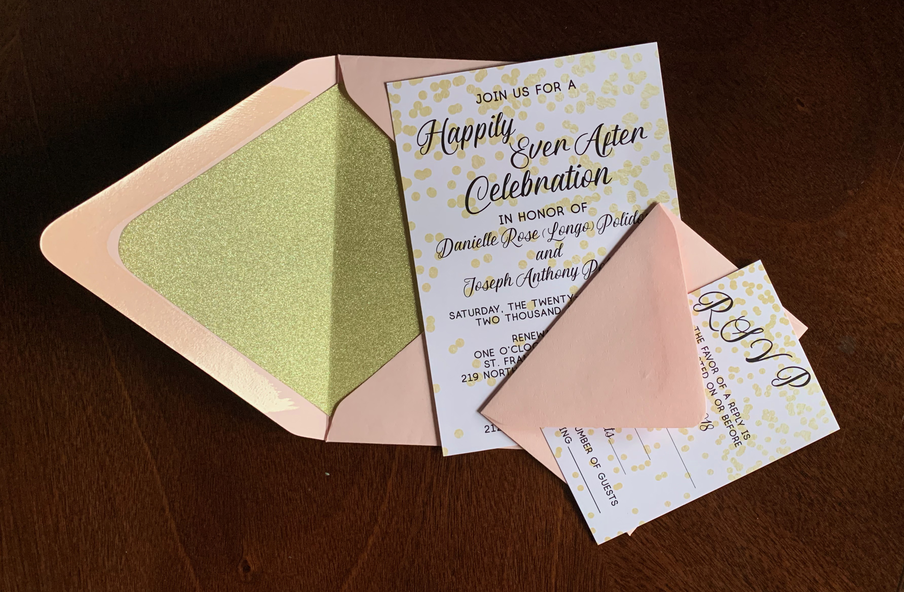 Gold and Blush Celebration Invitation Set