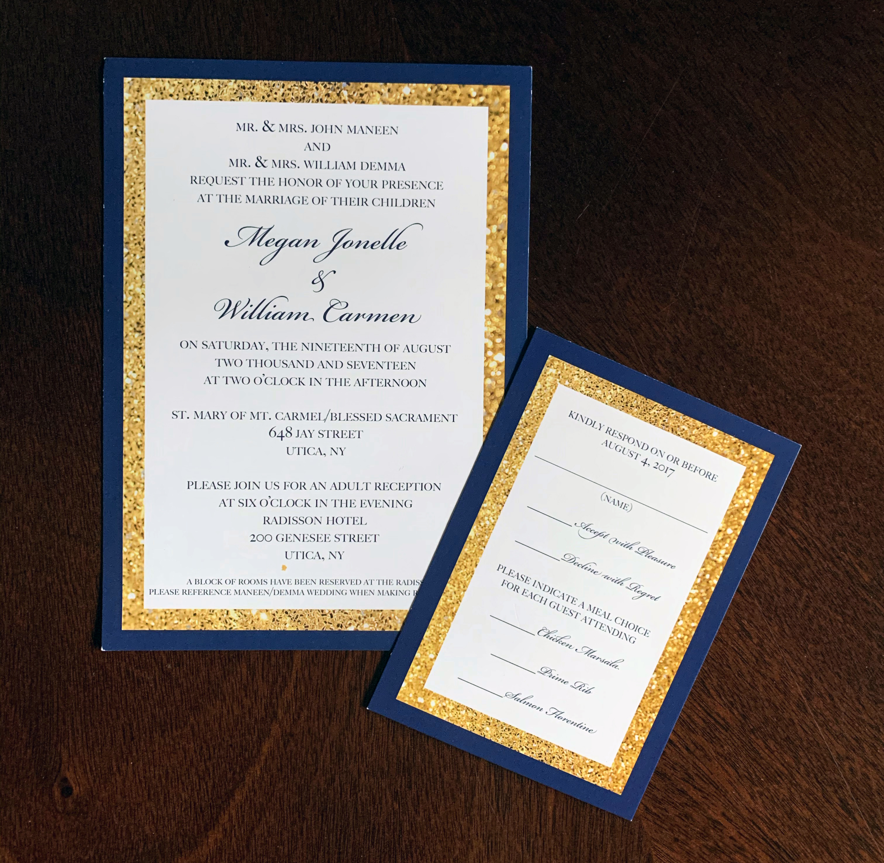 Gold and Navy Invitation Set