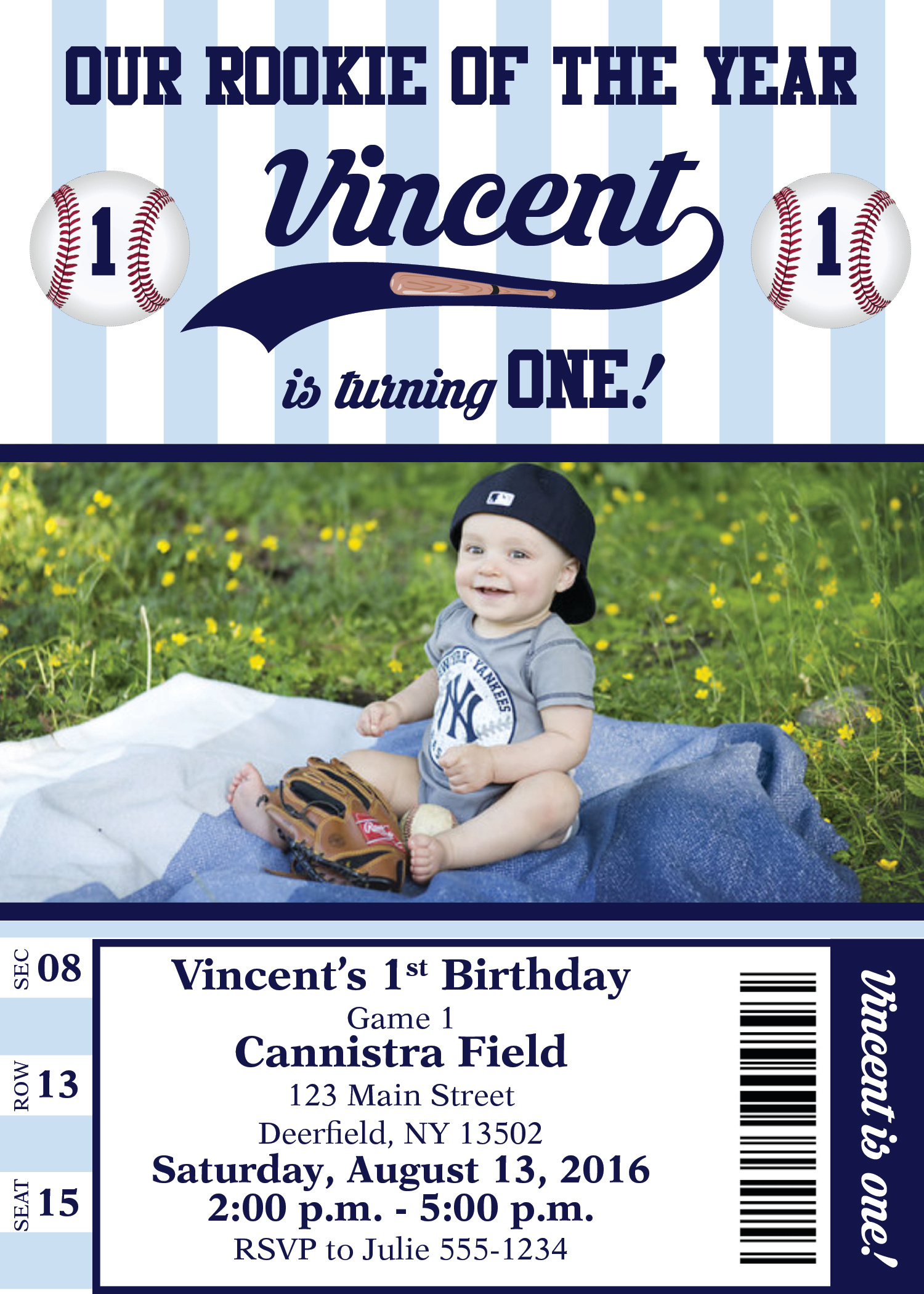 Yankees 1st Birthday Invitation