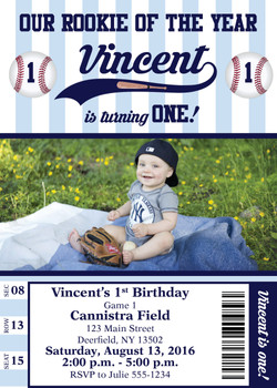 Yankees 1st Birthday Invitation