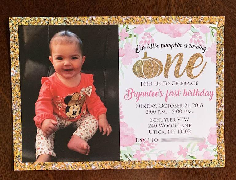 "Gold Pumpkin ""ONE"" invitation"