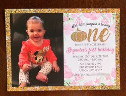 "Gold Pumpkin ""ONE"" invitation"