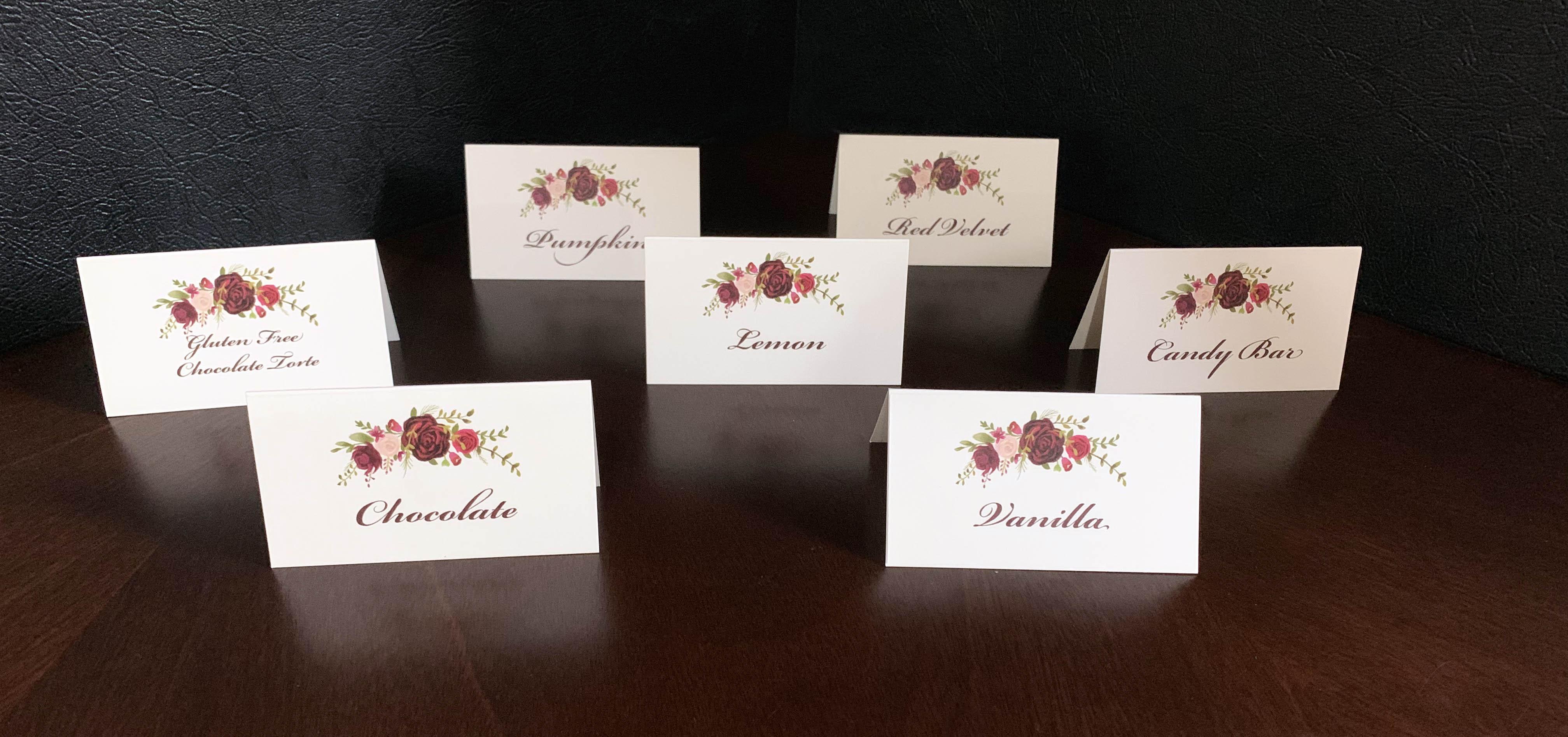 Cupcake Flavor Place Cards