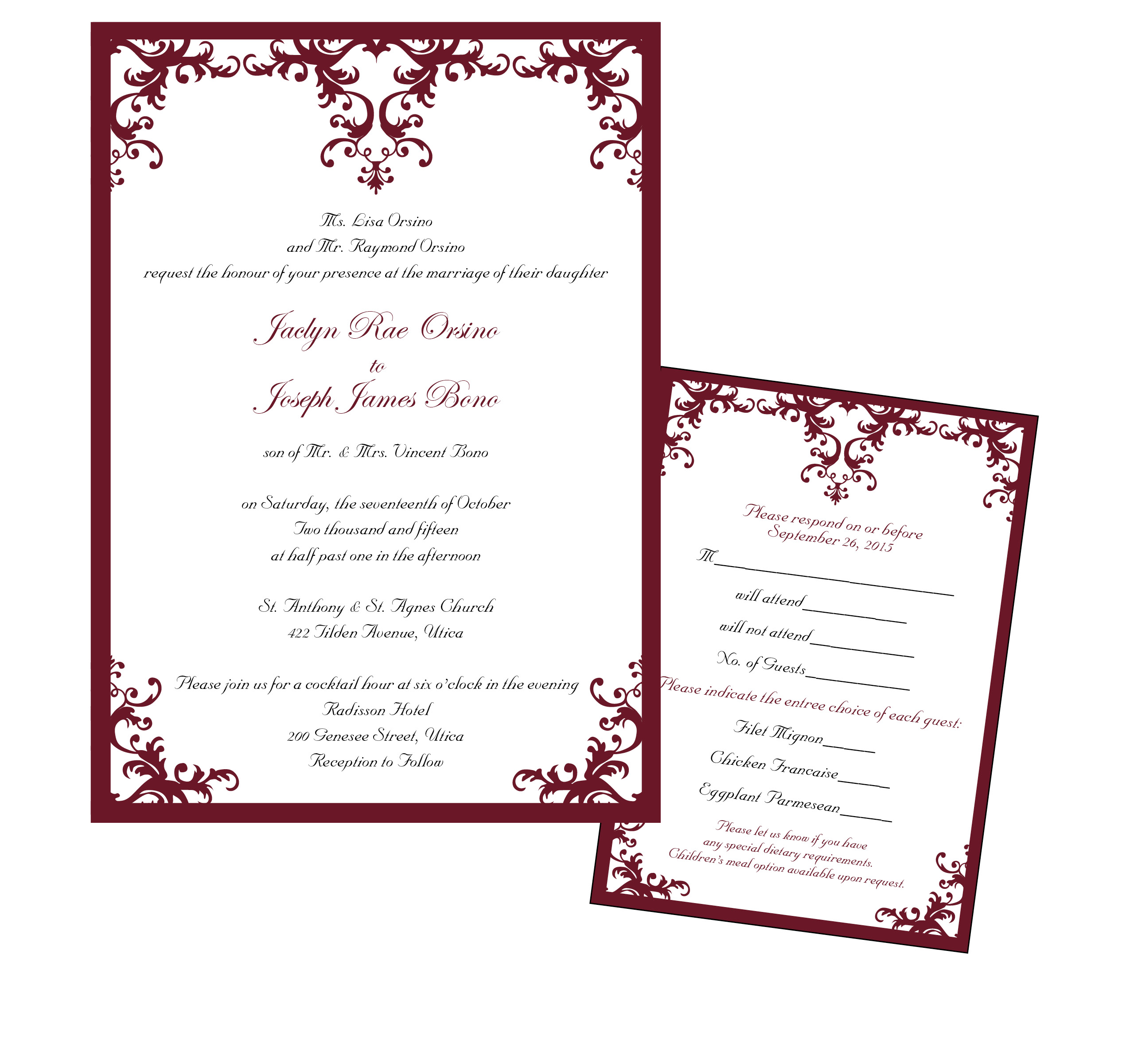 Cranberry Damask Set