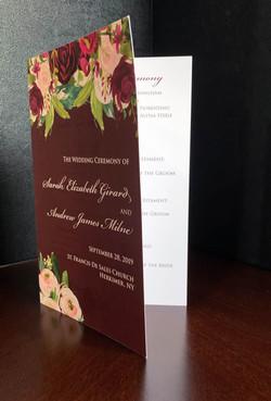 Burgundy Floral Ceremony Program