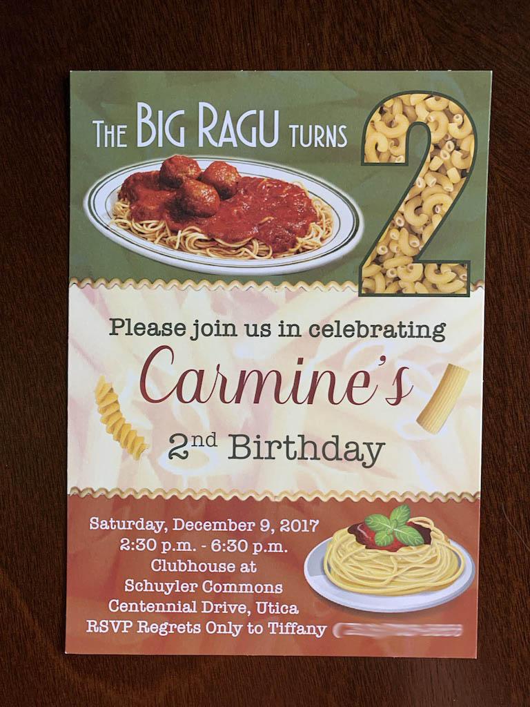 Big Ragu Invitation