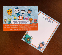 Octonauts Invitation and Thank You Card