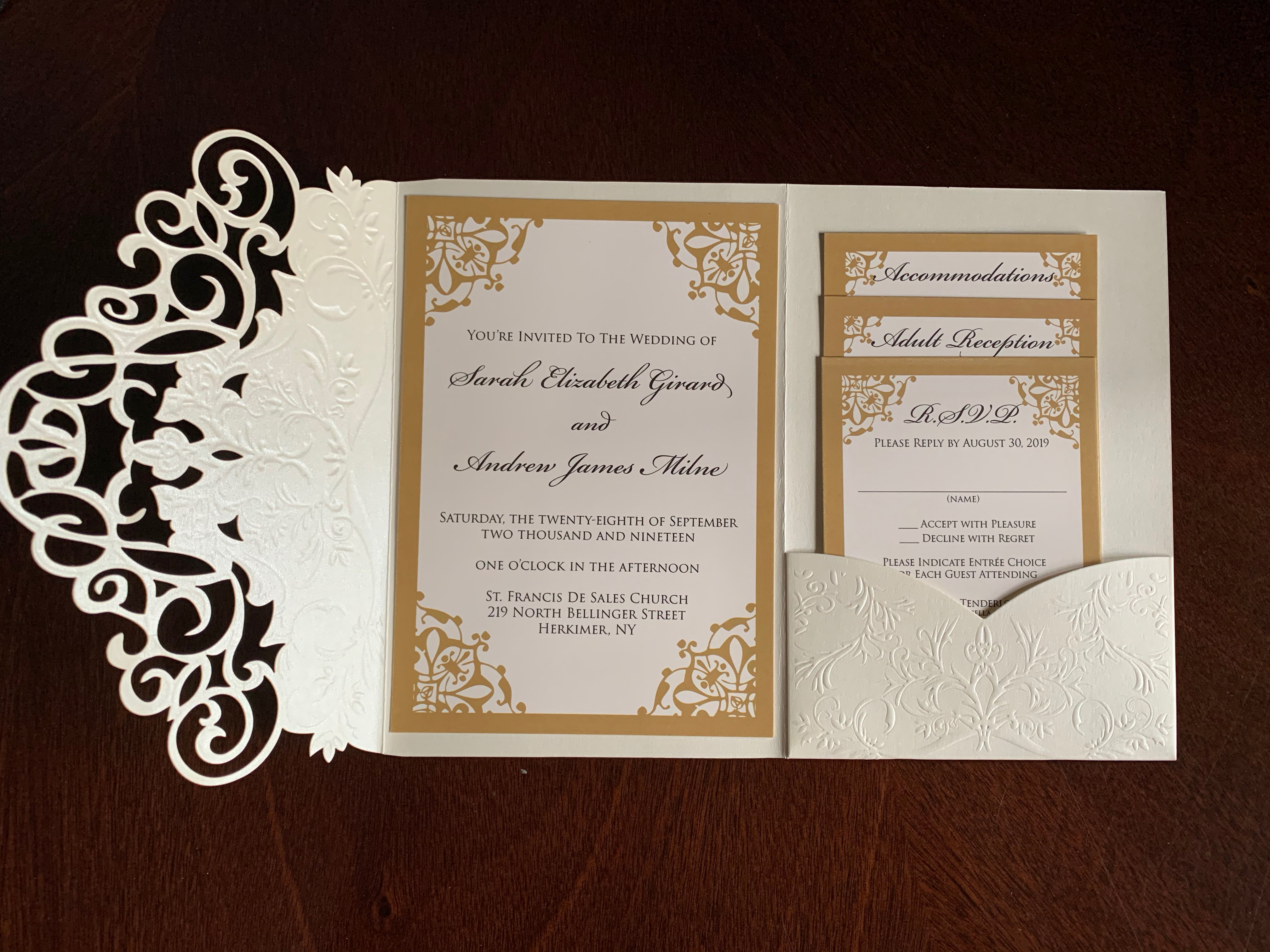 Gold Pocket Invitation Set