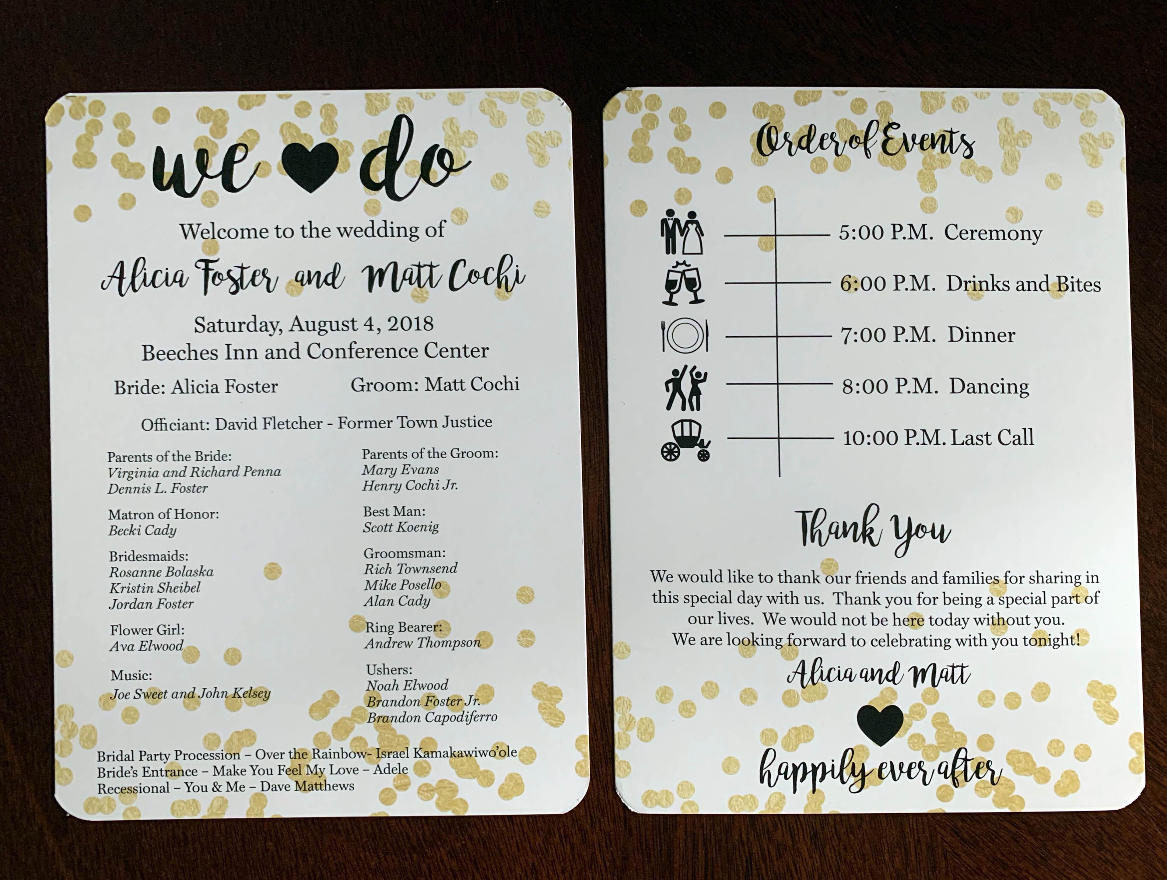 Two Sided Ceremony Program