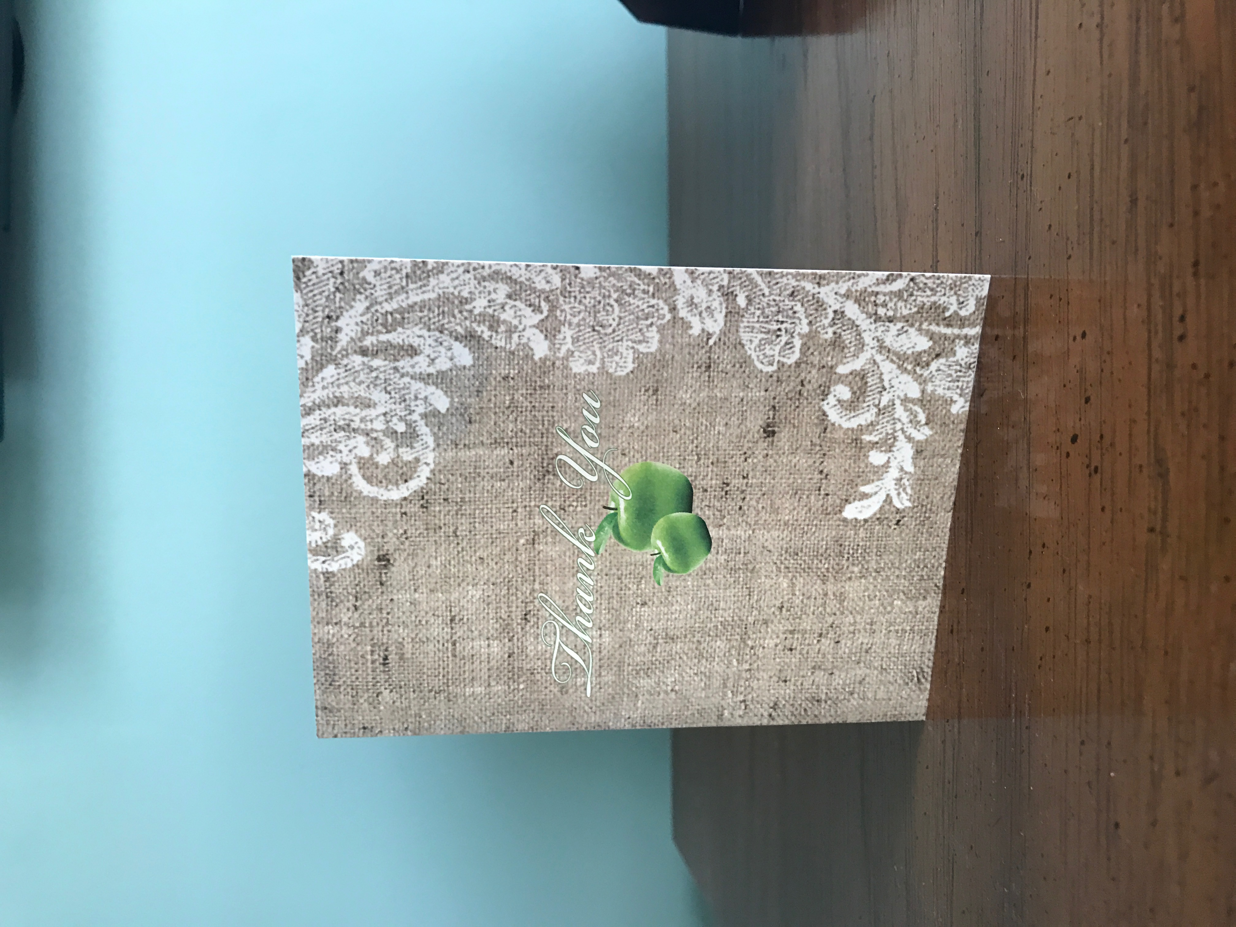 Burlap & Green Apple Thank You Card