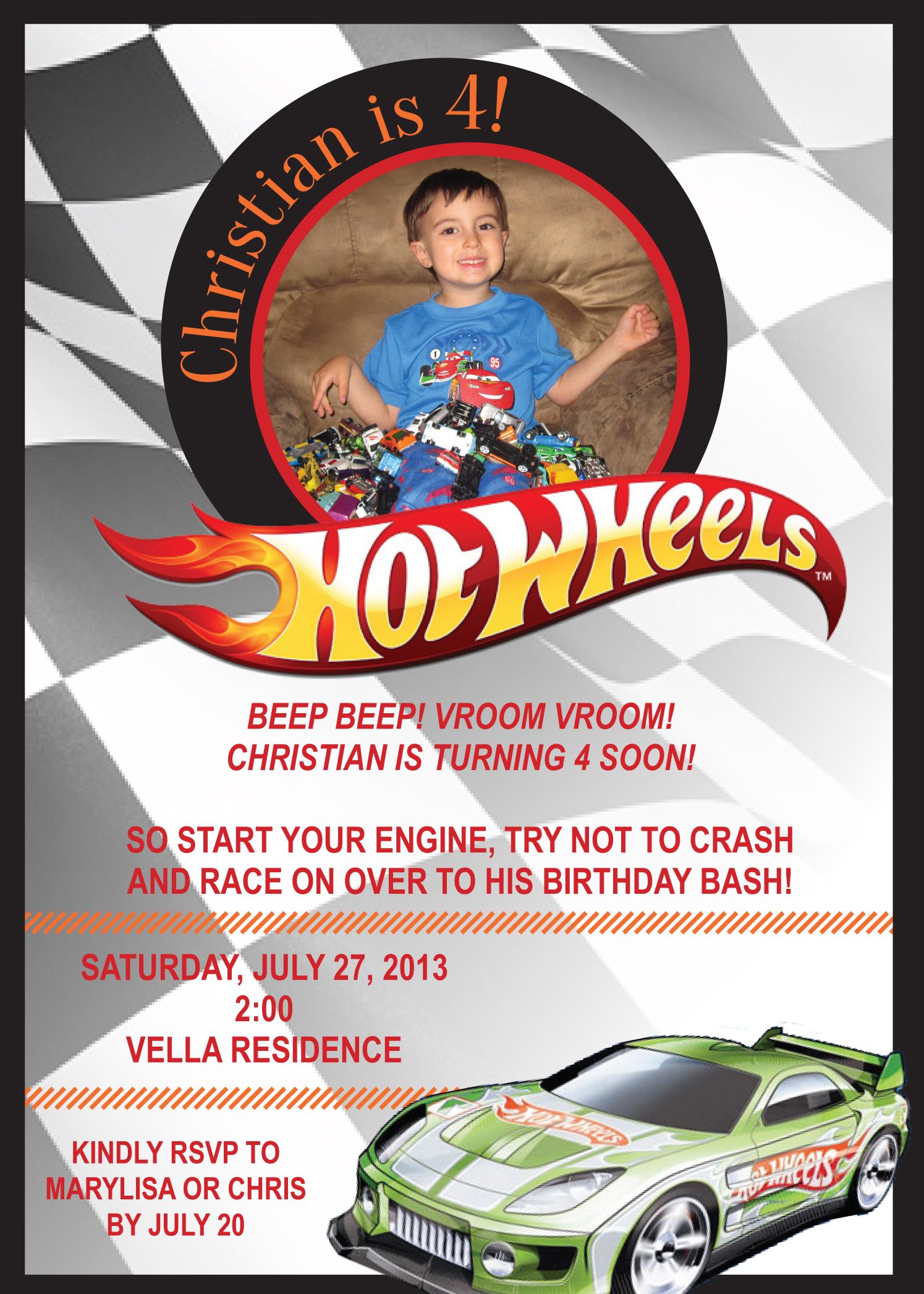 Hot Wheels Invitation