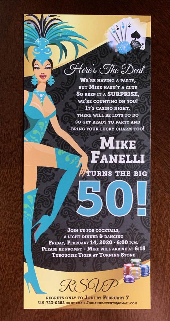 50th birthday invitation, casino theme
