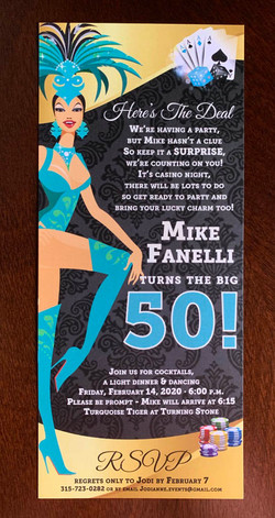 50th birthday invitation, casino theme