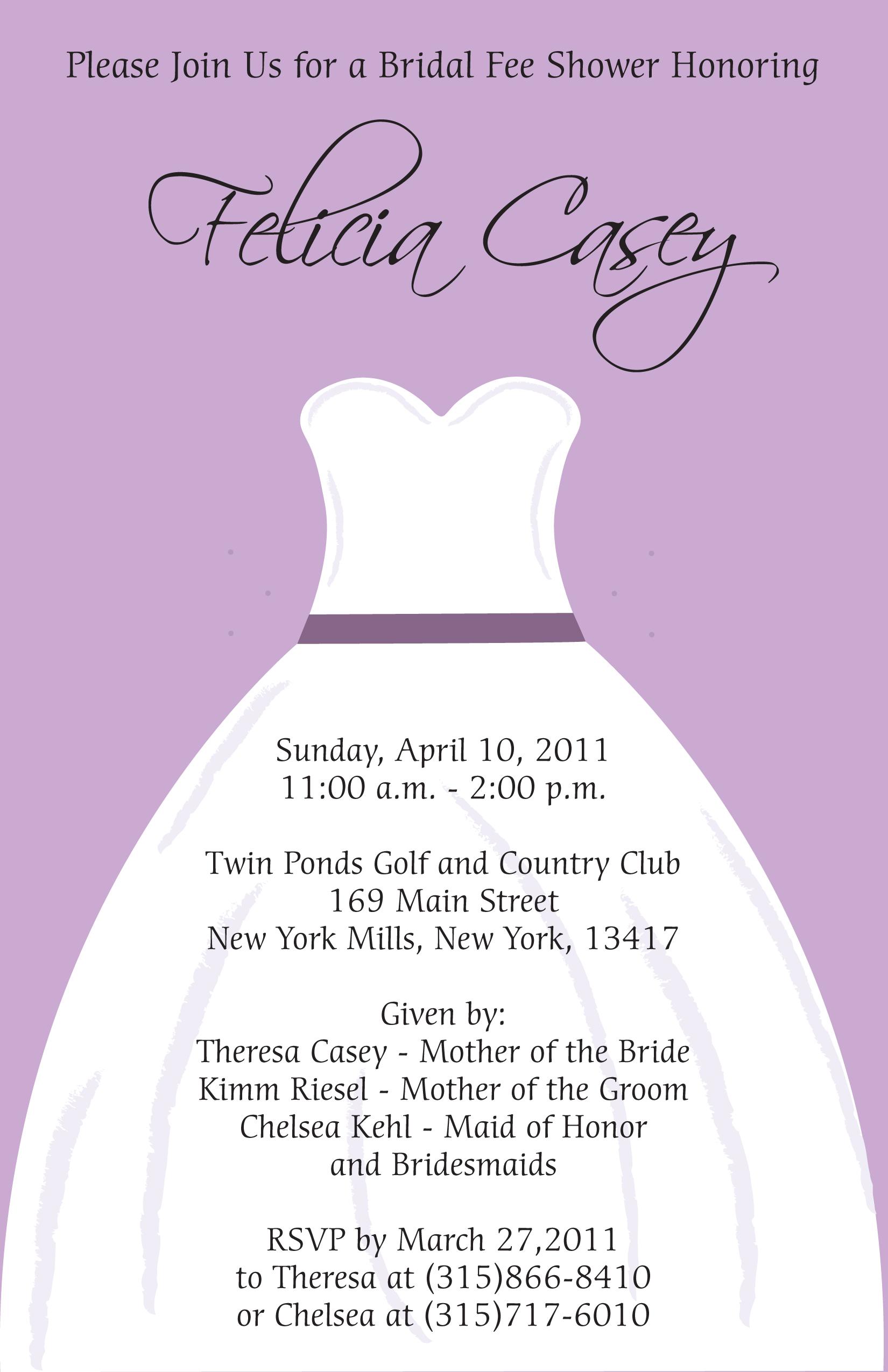 Wedding Dress Shower Invitation