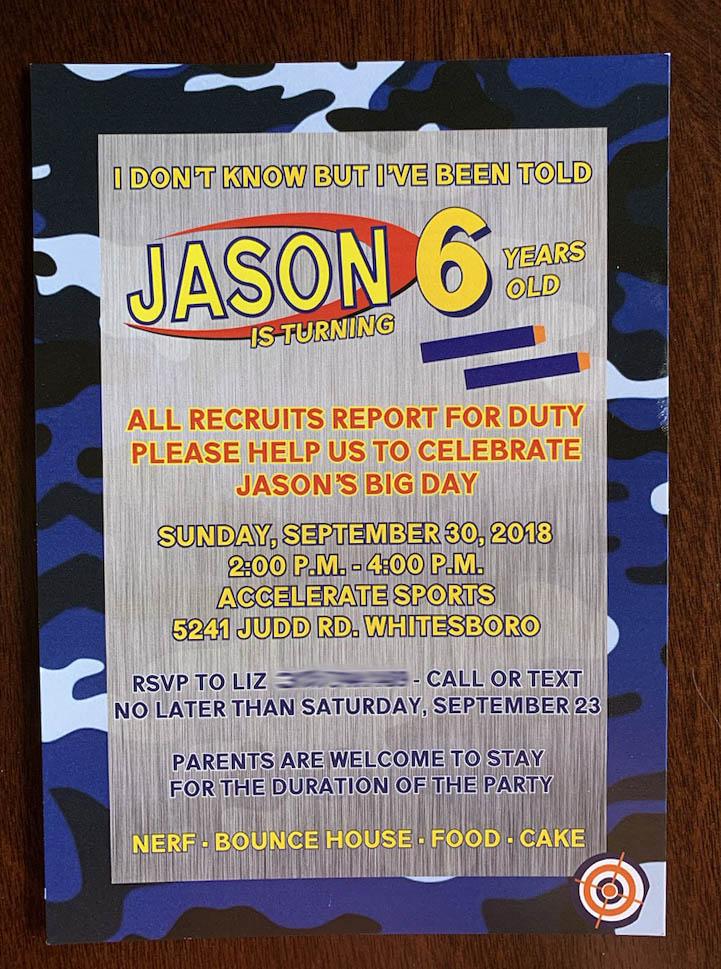 Nerf Invitation