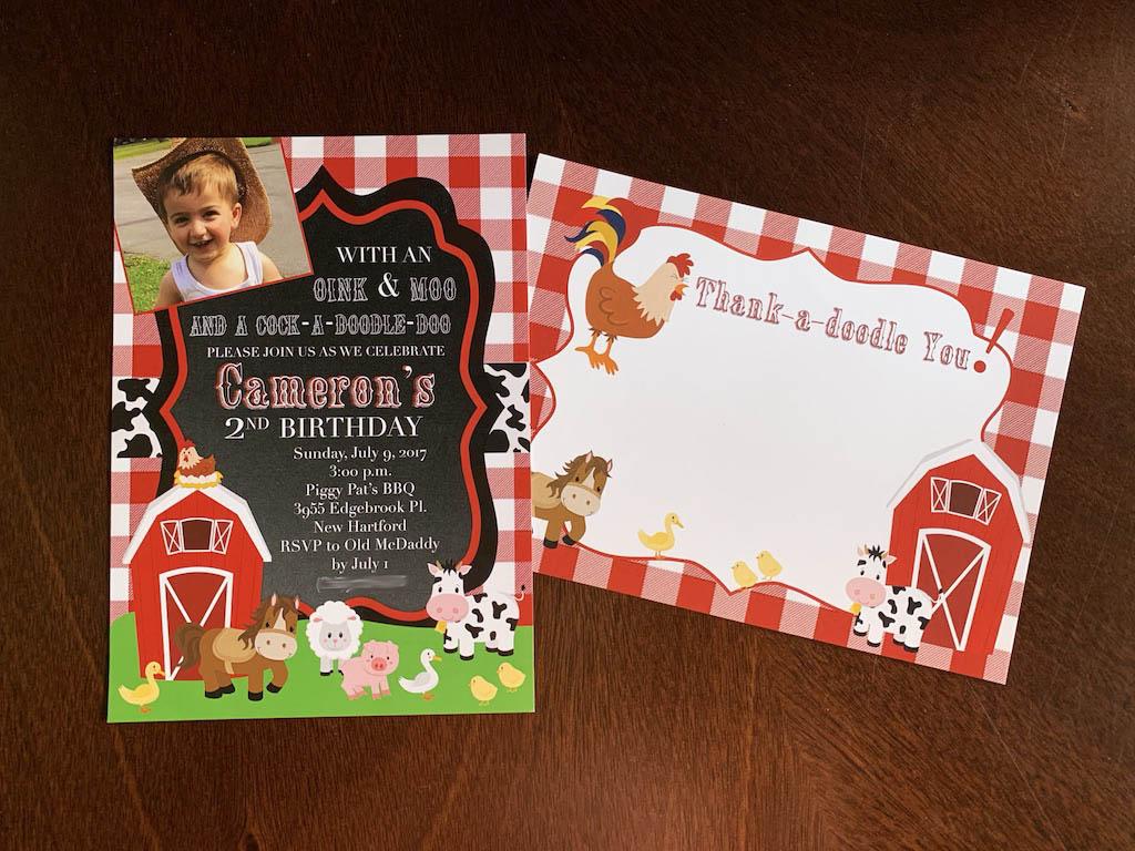 Farm Invitation and Thank You Card