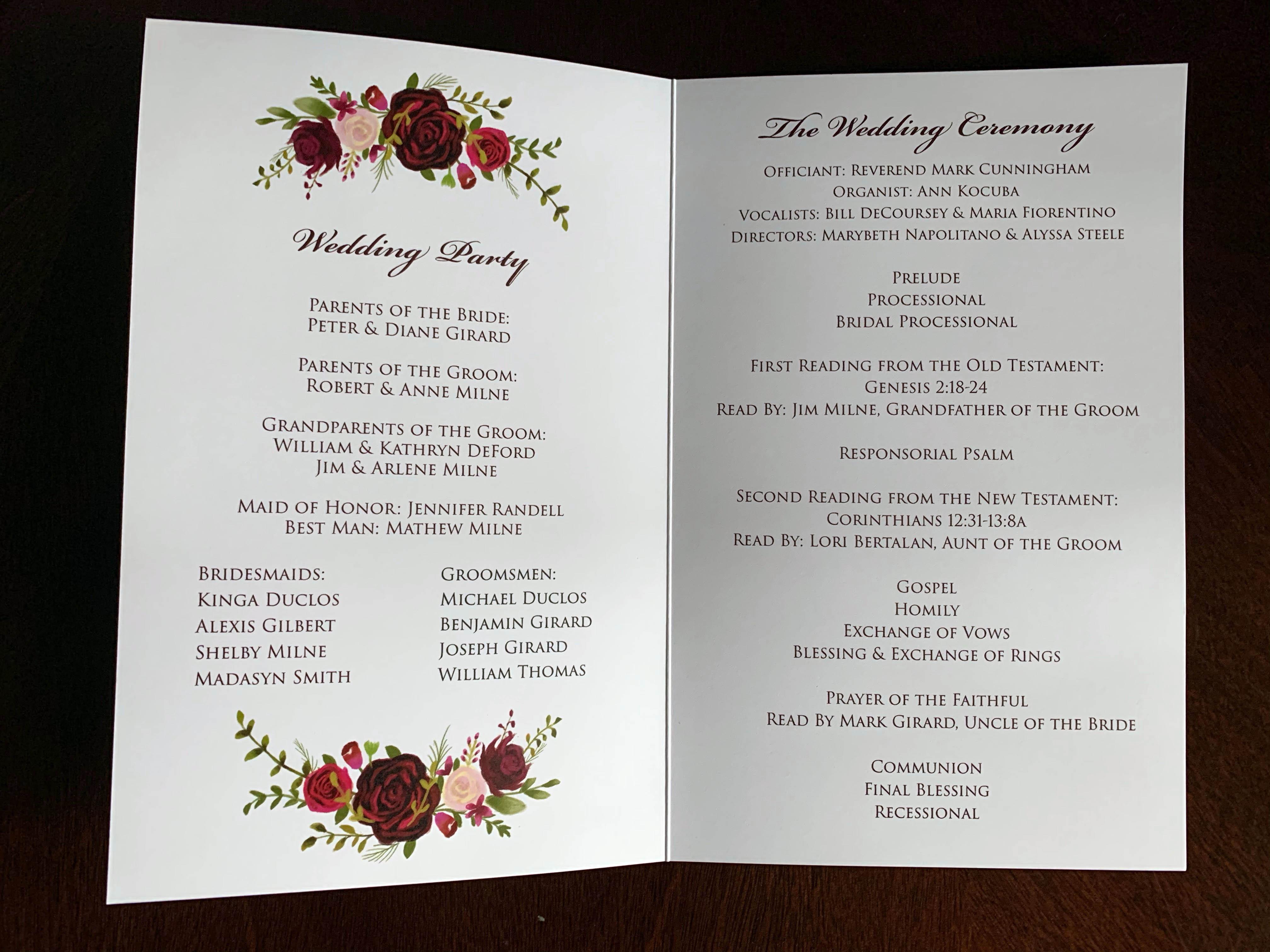 Ceremony Program (inside)