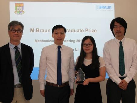 Miss Shasha Li wins the M. Braun Postgraduate Prize in Mechanical Engineering