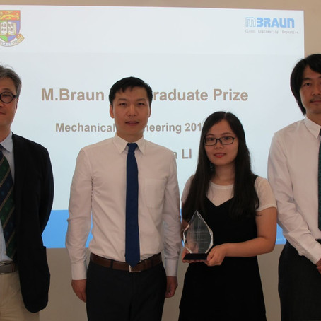 Miss Shasha Li wins the M. Braun Postgraduate Prize in Mechanical Engineering