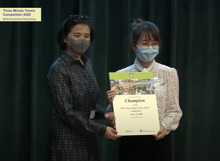 Ms Muyan Wu has got the Championship of the HKU Three Minute Thesis (3MT®) Competition