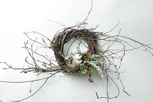 """6"""" Christmas Chickadee Wreath"""