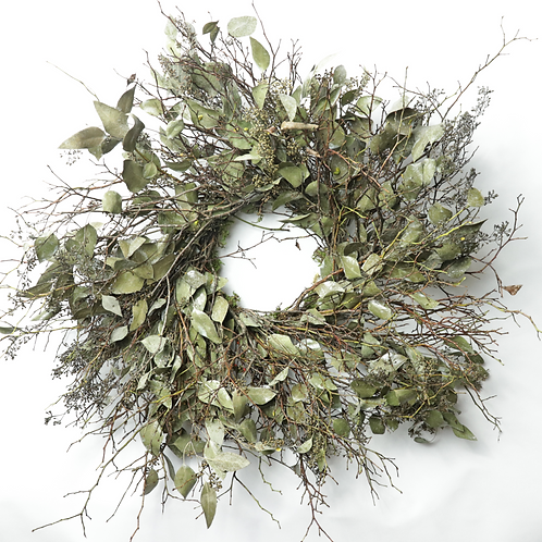 "Silver Blue Mixed - 24"" Wreath - Blue Spruce, Seeded Eucalyptus, Bell Eucalyptus"