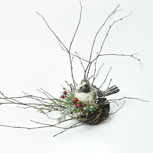 "2"" Christmas Chickadee Wreath"