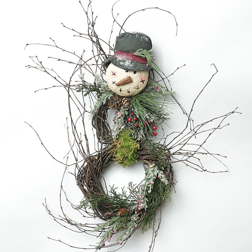 "Snow Man Mache Head Birch 2"",4"",6"""