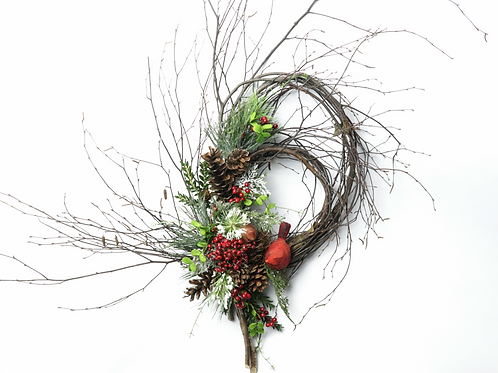 Two Cardinals on Birch Double Loop Wreath