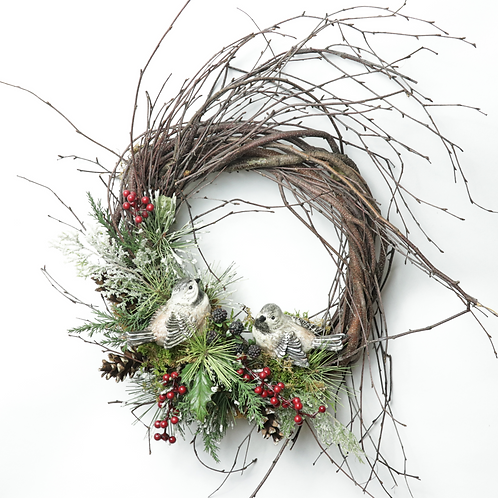 "12"" Christmas Chickadee Wreath"