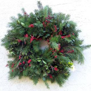 """Mixed #2 - 26"""" Wreath-Douglas, White Pine, Holly & Winterberry"""