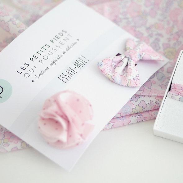 Barrette noeud, pompon ou fleur AU CHOIX