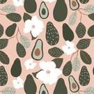 Tissu créateur Avocats et fleurs blanches