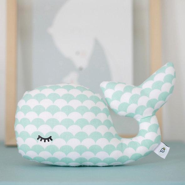 Baleine décorative Oscar Ecailles vert menthe