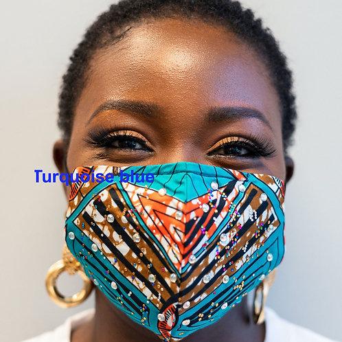 FACE MASK -ANKARA ( AFRICAN PRINT) with rhinestones